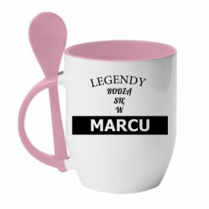 Kubek z ceramiczną łyżeczką Legendy rodzą się w marcu