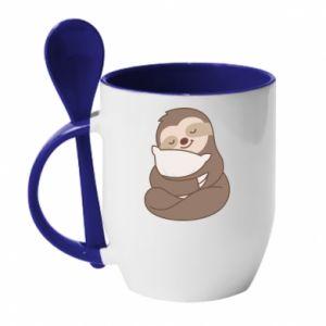 Kubek z ceramiczną łyżeczką Leniwiec z poduszką