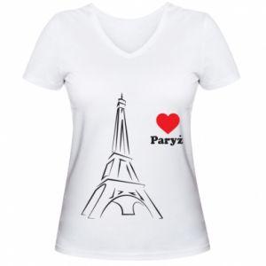Damska koszulka V-neck Paryżu, kocham cię