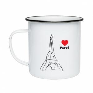 Kubek emaliowane Paryżu, kocham cię