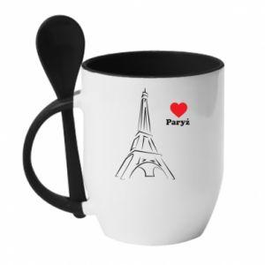 Kubek z ceramiczną łyżeczką Paryżu, kocham cię
