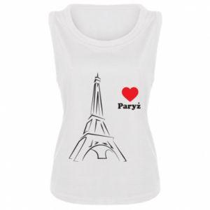 Damska koszulka bez rękawów Paryżu, kocham cię