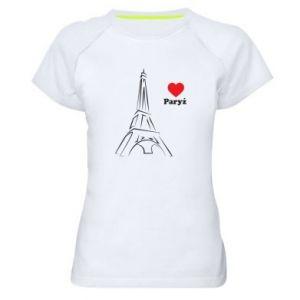 Damska koszulka sportowa Paryżu, kocham cię - PrintSalon