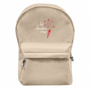 Backpack with front pocket Let freedom ring