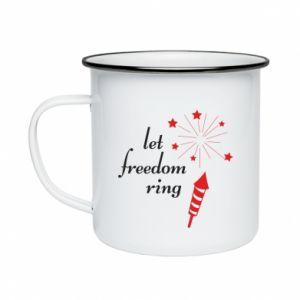 Enameled mug Let freedom ring