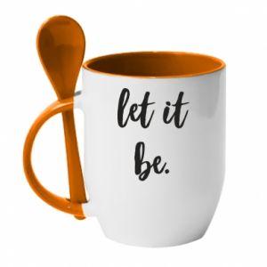 Kubek z ceramiczną łyżeczką Let it be