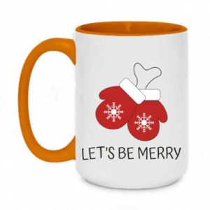 Two-toned mug 450ml Let's be merry