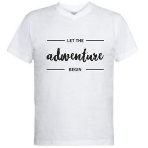 Męska koszulka V-neck Let the adventure begin