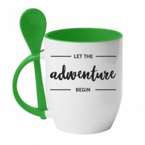 Kubek z ceramiczną łyżeczką Let the adventure begin