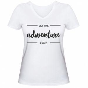 Damska koszulka V-neck Let the adventure begin