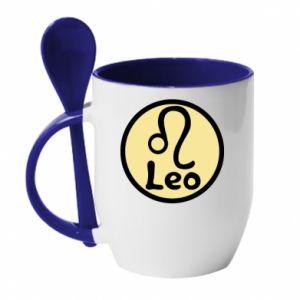 Kubek z ceramiczną łyżeczką Leo - PrintSalon