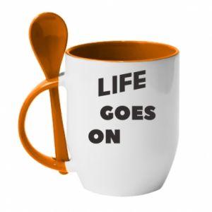 Kubek z ceramiczną łyżeczką Life goes on