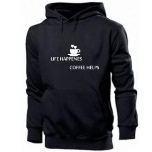 Męska bluza z kapturem Life happenes, coffee helps