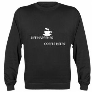 Bluza (raglan) Life happenes, coffee helps