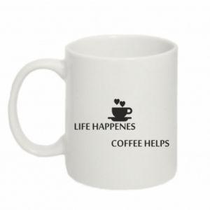 Kubek 330ml Life happenes, coffee helps