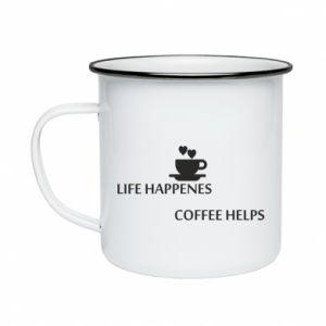 Kubek emaliowane Life happenes, coffee helps