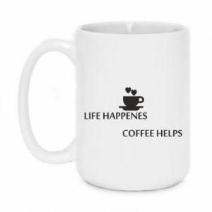Kubek 450ml Life happenes, coffee helps