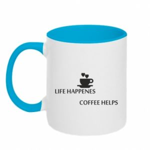 Kubek dwukolorowy Life happenes, coffee helps