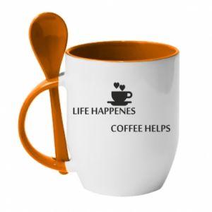 Kubek z ceramiczną łyżeczką Life happenes, coffee helps