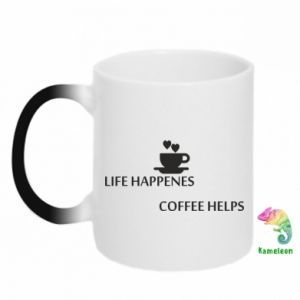 Kubek-kameleon Life happenes, coffee helps