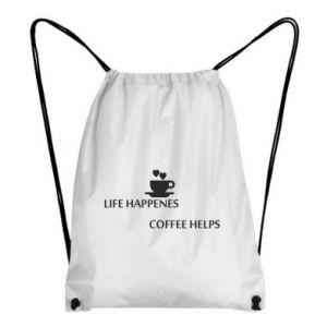 Plecak-worek Life happenes, coffee helps