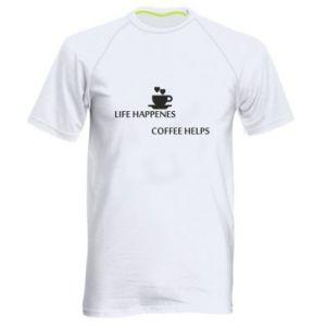 Męska koszulka sportowa Life happenes, coffee helps