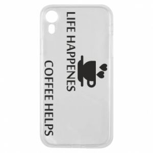 Etui na iPhone XR Life happenes, coffee helps