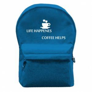 Plecak z przednią kieszenią Life happenes, coffee helps