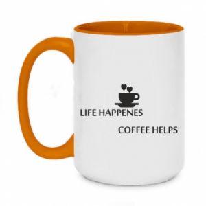 Kubek dwukolorowy 450ml Life happenes, coffee helps