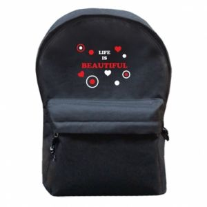 Backpack with front pocket Life is beatiful,  color