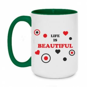Two-toned mug 450ml Life is beatiful,  color