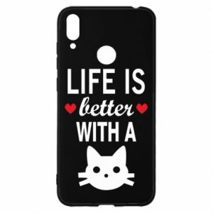 Huawei Y7 2019 Case Life is better with a cat
