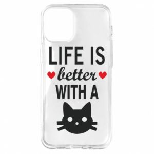 iPhone 12 Mini Case Life is better with a cat