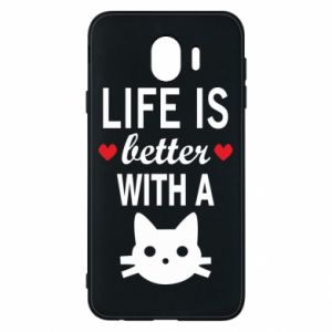 Samsung J4 Case Life is better with a cat
