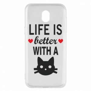 Samsung J5 2017 Case Life is better with a cat