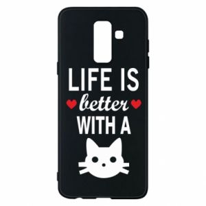 Samsung A6+ 2018 Case Life is better with a cat
