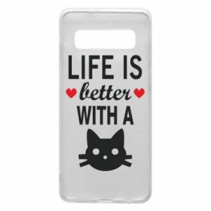 Samsung S10 Case Life is better with a cat
