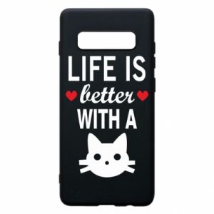 Samsung S10+ Case Life is better with a cat