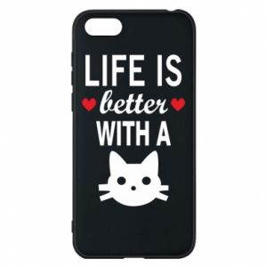 Huawei Y5 2018 Case Life is better with a cat