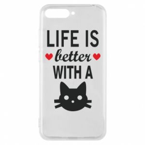 Huawei Y6 2018 Case Life is better with a cat