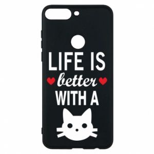 Huawei Y7 Prime 2018 Case Life is better with a cat
