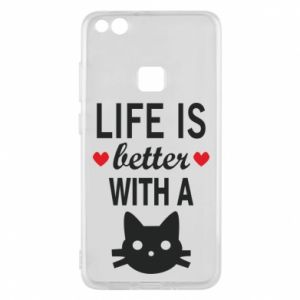 Huawei P10 Lite Case Life is better with a cat
