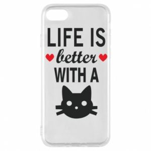 iPhone 7 Case Life is better with a cat