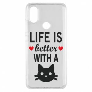 Xiaomi Mi A2 Case Life is better with a cat