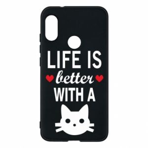 Mi A2 Lite Case Life is better with a cat