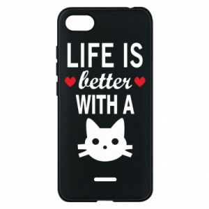 Xiaomi Redmi 6A Case Life is better with a cat