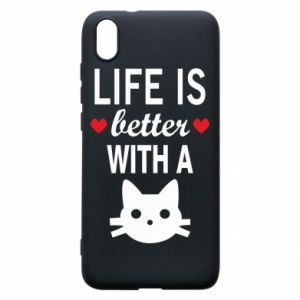 Xiaomi Redmi 7A Case Life is better with a cat