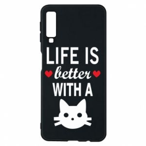 Samsung A7 2018 Case Life is better with a cat