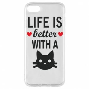 iPhone 8 Case Life is better with a cat