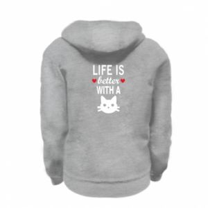 Kid's zipped hoodie % print% Life is better with a cat